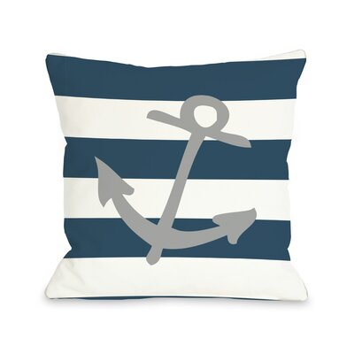 Striped Throw Pillow Size: 16 H x 16 W, Color: Gray