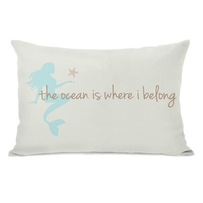 Ocean is Where I Belong Mermaid Lumbar Pillow