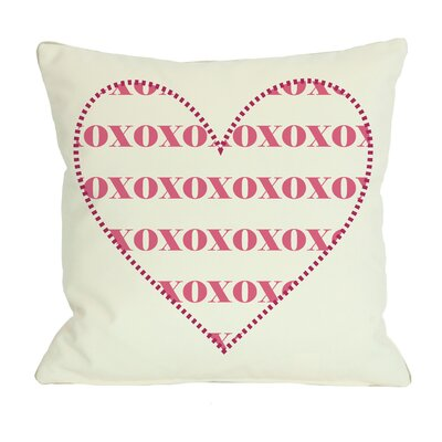 XOXO Heart Throw Pillow Size: 18 H x 18 W