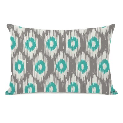 Kelly Ikat Lumbar Pillow Color: Gray Turquoise