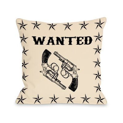 Wanted Stars and Guns Throw Pillow Size: 16 H x 16 W