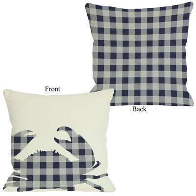 Plaid Crab Throw Pillow Size: 26 H x 26 W, Color: Navy