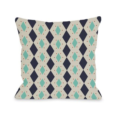 Diamond Dots Geometric Throw Pillow Color: Navy, Size: 18 H x 18 W