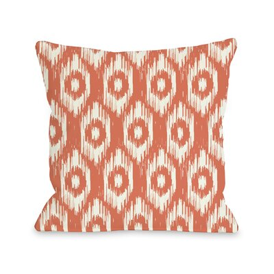 Kelly Ikat Throw Pillow Size: 18 H x 18 W, Color: Orange Ivory