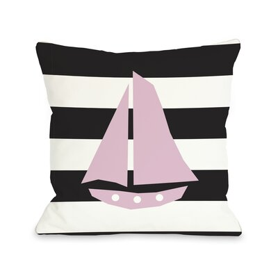 Striped Sailboat Throw Pillow Color: Black, Size: 26 H x 26 W