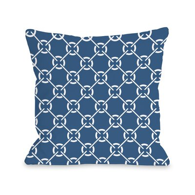 Ceciles Circles Throw Pillow Size: 18 H x 18 W, Color: Mykonos Blue