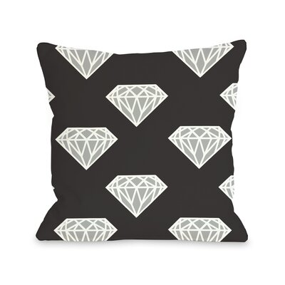 All Over Diamond Throw Pillow Size: 16 H x 16 W, Color: Black Silver