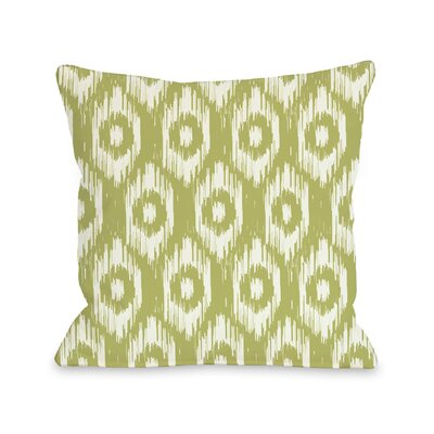 Kelly Ikat Throw Pillow Size: 16 H x 16 W, Color: Oasis Green Ivory