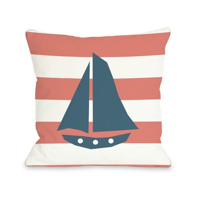 Striped Sailboat Throw Pillow Size: 16 H x 16 W, Color: Coral