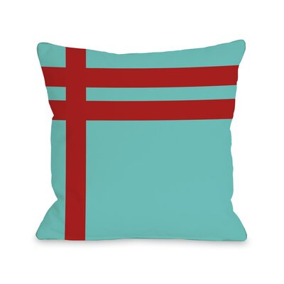 Meeting Stripes�Throw Pillow Color: Turquoise Red