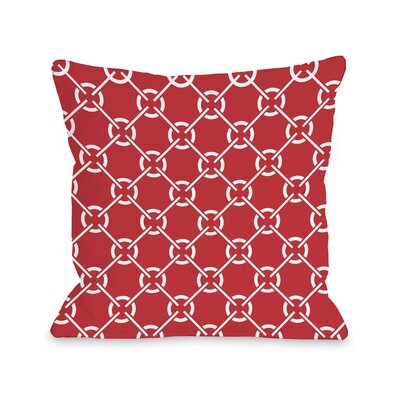 Ceciles Circles Throw Pillow Size: 18 H x 18 W, Color: Poppy Red
