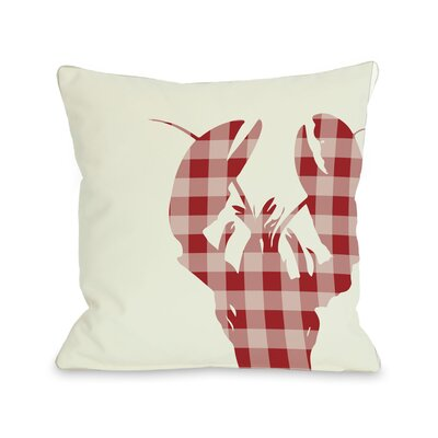 Plaid Lobster Throw Pillow Size: 16 H x 16 W, Color: Red