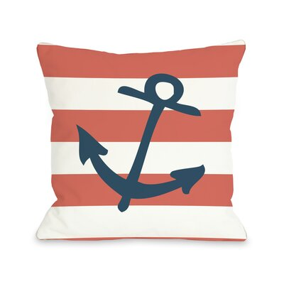 Striped Throw Pillow Color: Coral, Size: 18 H x 18 W
