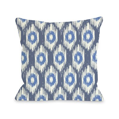 Kelly Ikat Throw Pillow Size: 16 H x 16 W, Color: Blue Multi