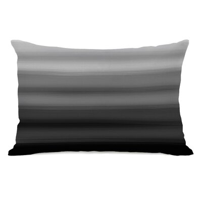 Ombre Watercolors Lumbar Pillow Color: Black Gray