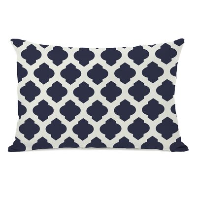 All Over Moroccan Lumbar Pillow Color: Navy Ivory