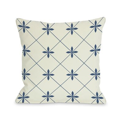 Crisscross Flowers Throw Pillow Size: 18 H x 18 W, Color: Ivory / Blue