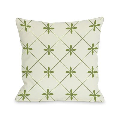 Crisscross Flowers Ivory and Green Pillow