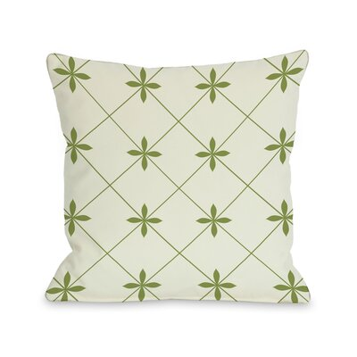Crisscross Flowers Throw Pillow Size: 16 H x 16 W, Color: Ivory / Green