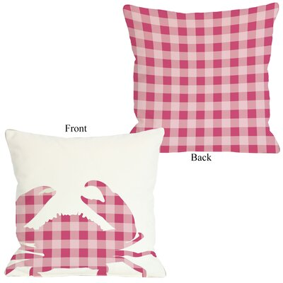Plaid Crab Throw Pillow Size: 16 H x 16 W, Color: Pink