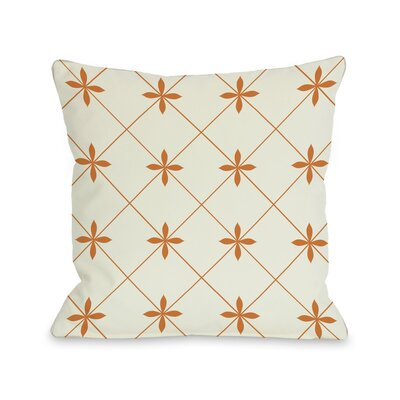 Crisscross Flowers Throw Pillow Size: 18 H x 18 W, Color: Ivory / Orange