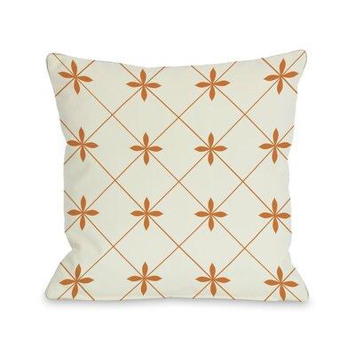 Crisscross Flowers Throw Pillow Size: 18 H x 18 W, Color: Ivory / Orange