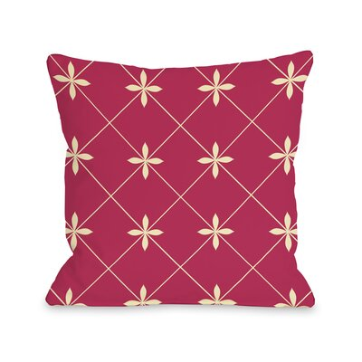Crisscross Flowers Throw Pillow Size: 16 H x 16 W, Color: Pink Yellow