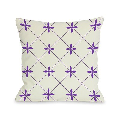 Crisscross Flowers Throw Pillow Size: 18 H x 18 W, Color: Ivory / Purple