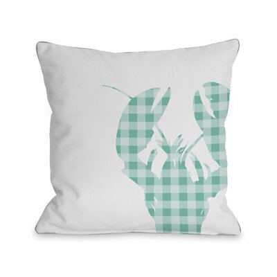 Plaid Lobster Throw Pillow Size: 16 H x 16 W, Color: Aqua