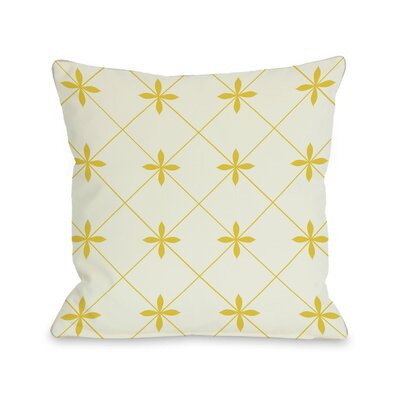 Crisscross Flowers Throw Pillow Size: 18 H x 18 W, Color: Ivory / Yellow