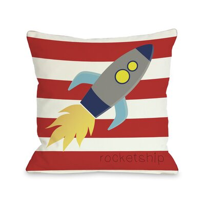 Rocketship Throw Pillow Size: 18