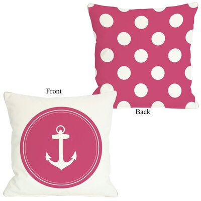 Polka Dot Anchor Throw Pillow Size: 26 H x 26 W