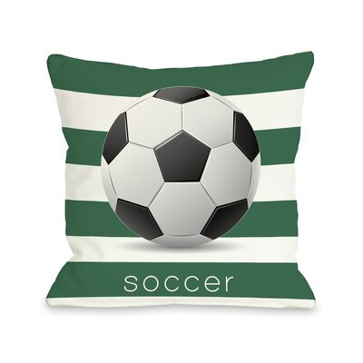 Soccer Throw Pillow Size: 18