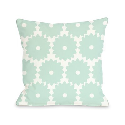 Gia Flower Print Throw Pillow Size: 18 H x 18 W, Color: Robins Egg