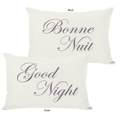Bonne Nuit or Goodnight Reversible Lumbar Pillow