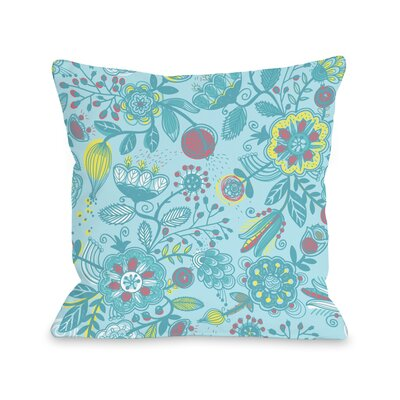 Quirky Florals Throw Pillow Size: 18 H x 18 W x 3 D, Color: Blue Multi
