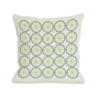 Circles & Flowers Throw Pillow Color: Green