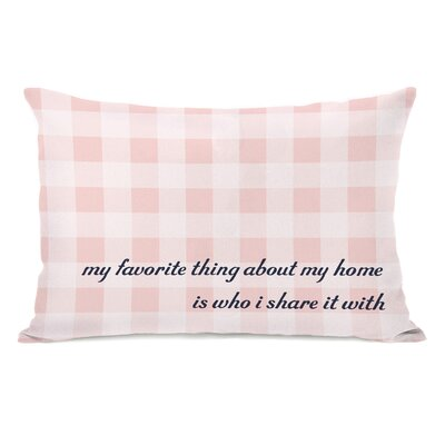 Favorite Thing About My Home Gingham Lumbar Pillow