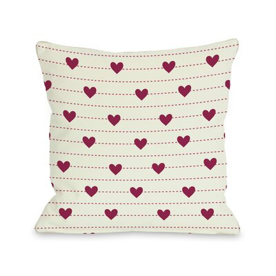 Hearts on a Line Throw Pillow Size: 18