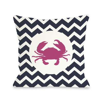 Chevron Crab Throw Pillow Size: 18 H x 18 W