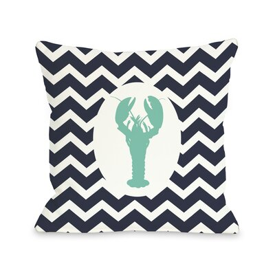 Chevron Lobster Throw Pillow Size: 16 H x 16 W