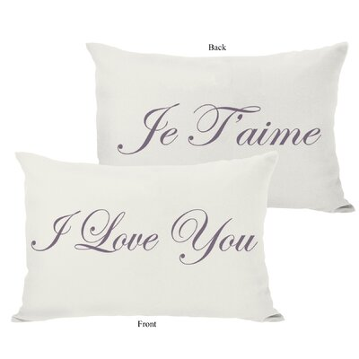 Je Taime/I Love You Reversible Lumbar Pillow Color: Ivory / Grape