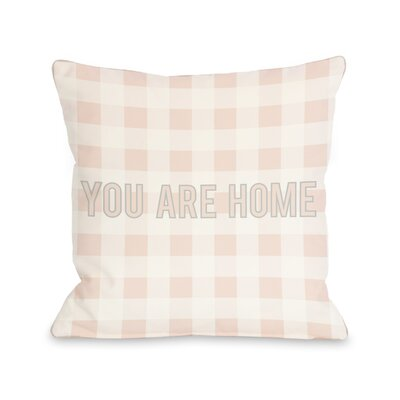 You are Home Block Letters Gingham Lumbar Pillow