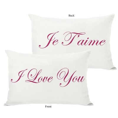 Je Taime/I Love You Reversible Lumbar Pillow Color: Pink