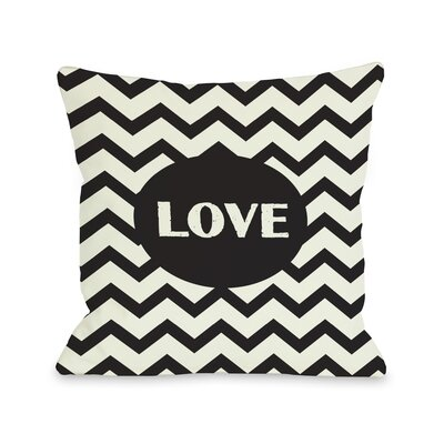 Love Chevron Throw Pillow Color: Black, Size: 18 H x 18 W