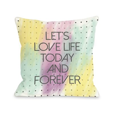 Lets Love Life Dot Throw Pillow