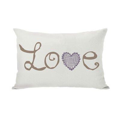 Love Crosshatch Heart Fleece Lumbar Pillow Color: Ivory