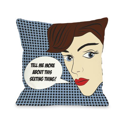 Sexting Comic Throw Pillow Size: 26 H x 26 W x 6 D