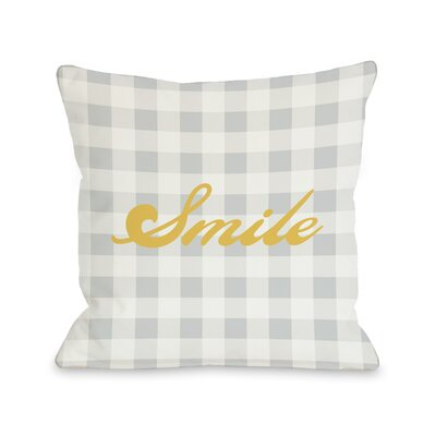 Smile Gingham Throw Pillow Size: 26 H x 26 W
