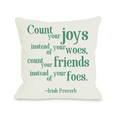 Count Your Joys Throw Pillow Size: 16 H x 16 W
